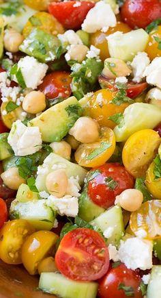 Tomato Avocado Cucumber Chick Pea Feta Salad with Greek Lemon Salad Dressing