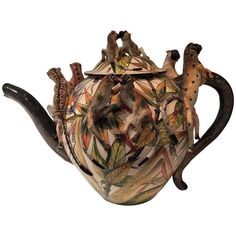 Monkey Teapot Ceramic Sculpture by Ardmore from South Africa - 2013 - Animal Teapot Tea Pot