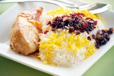 Persian Cuisine: Zereshk Polo O Morgh - rice with berries and chicken