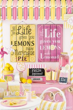 Mom has always helped make any situation seem brighter...treat her to one of our favorite pink & yellow lemonade stand pieces.