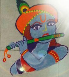 Simple Rangoli Designs for Janmashtami