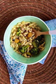 Orzo Pasta with Roasted Broccoli & Chickpeas | Vegan Recipe on MarlaMeridith.com