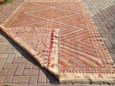 Area rug 125 x 79 Pastel Kilim rug Vintage Turkish by PocoVintage