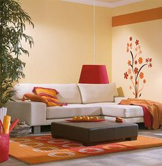 I'm decorating my living room in this orange theme-love the wall decoy