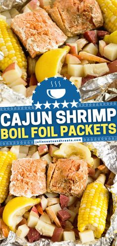 A fantastic way to enjoy shrimp boil! Combined with potatoes, salmon, sausage, corn, and Cajun seasoning, these foil packet meals on the grill make the perfect Mardi Gras food for your dinner menu. Plus, this recipe comes together quickly and is super easy to make! Shrimp Boil Foil, Cajun Shrimp, Foil Packet Meals, Foil Packets, Seafood Dishes, Seafood Recipes, Mardi Gras Food, Fourth Of July Food, Cajun Seasoning