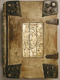 Manuscript front. Date: 1000–1100 Medium: Tempera, ink, and metal leaf on parchment; leather, leather binding with ivory. Accession Number: 41.100.168. Collection | The Metropolitan Museum of Art