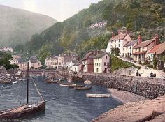 Lynmouth Harbor, Lynton and Lynmouth. This color photochrome print was created between 1890 and 1900 in Lynmouth, England.