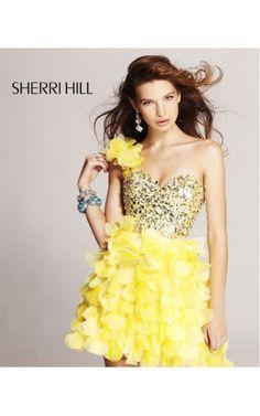 2014 Sherri Hill 8423 One Shoulder Prom Dresses YellowOutlet