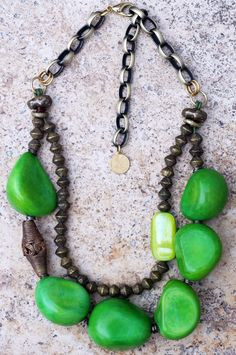 Statement Necklace | Green | Bold | Organic | African | XO Gallery | XO Gallery