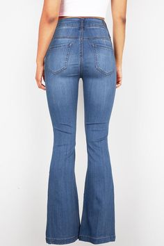 75f523616cb High rise fitted bell bottom jeans with a multi-button closure. Traditional  5-
