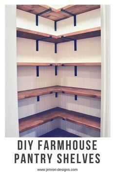 DIY Farmhouse Pantry Shelves. Check out the full details at our blog. #farmhouse #pantry #organization #pantry shelves #DIY