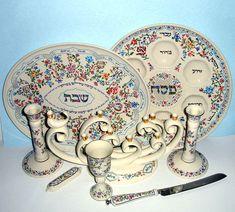 Lenox L'CHAIM 8-Piece Menorah/Challah/Seder Plate/Cup/Knife/Candlesticks/Mezuzah #Lenox