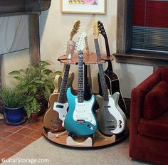 The Best Guitar Storage Solutions For Your Home or Studio. Beautiful and Space-Saving Guitar Stands, Racks, Wall-Mounts and More. Guitar Storage, Guitar Display, Guitar Rack, Guitar Stand, Studio Room, Home Studio, Home Music Rooms, House Music, Band Rooms