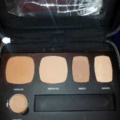 Bareminerals Ready to go Complexion Perfection Comes in black zipper case. The mirror is busted, I will remove before shipping. Includes foundation, concealer, touch up veil, bronze, luminizer and 2 brushes. Dark Golden bareMinerals Makeup Face Primer