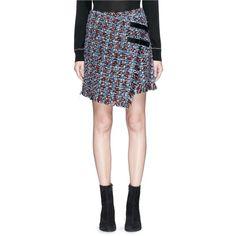 Sonia Rykiel Asymmetric tweed wrap skirt (10.024.500 IDR) ❤ liked on Polyvore featuring skirts, sonia rykiel, asymmetrical skirt, wrap skirt, sonia rykiel skirt and tweed skirt