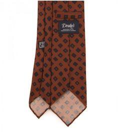 Brown Square Block Print Silk Tie