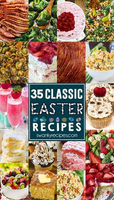35 Classic Easter Recipes - The BEST Easter Day food idea menu with plenty of holiday recipes to host Easter. Recipes include classic ham recipes roasted vegetables dessert salads Easter desserts fresh salads and pasta salads and Easter brunch recipes. Ham Recipes, Easter Recipes, Brunch Recipes, Appetizer Recipes, Dessert Recipes, Brunch Ideas, Recipes Dinner, Vegan Recipes, Spring Desserts
