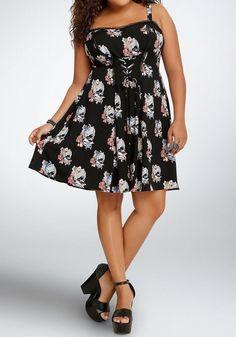 NWT Tripp Koi Skull Skater Dress 2 2x 18 20 Rockabilly Oriental Lase Corset Frnt #TrippNYC #Sundress #SummerBeach