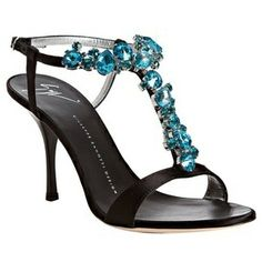 Black satin turquoise jeweled