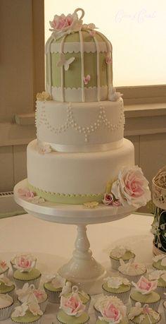 bird cage cake (green, roses, butterflies)