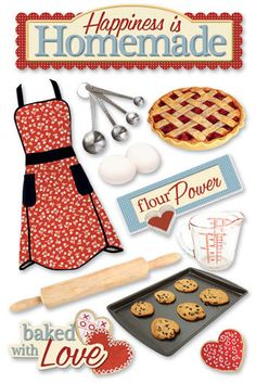 Someone's in the kitchen with Mommy! What better way to highlight this event than with a layout decorated with the Homemade Cardstock Stickers from Paper House Productions Baking Collection. Each package includes one x sheet of dimensional stickers. Scrapbook Stickers, Scrapbook Paper, Scrapbook Titles, Scrapbooking Layouts, Planner Stickers, 3d Cuts, Scrapbook Recipe Book, Recipe Binders, Vintage Cooking