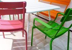 (fermobusa.com)  Found these chairs in treated alluminum for the terrazza, if they ever get rusty, we can always paint them.