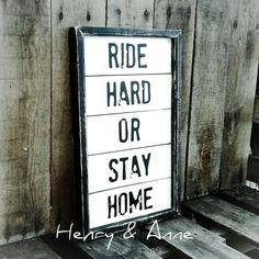 Ride Hard Or Stay Home Pallet Sign  Biker Art  by HenryandAnne