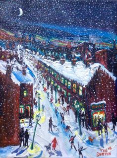 Long Row, first snow, The Longest Slide. Wakefield Artist Tim Burton.
