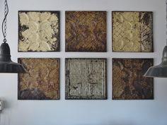 Vintage installation of pressed metal panels