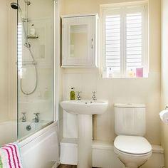 Traditional cream bathroom with shutters   Bathroom decorating   housetohome.co.uk