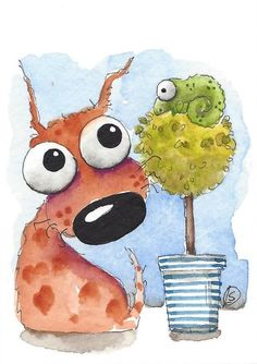 ACEO Original watercolor art painting whimsical spotty dog tree chameleon #IllustrationArt