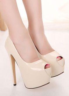 1167c68ebf63 New Sexy Apricot Peep Toe High Heel Pumps