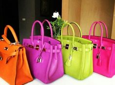 Neon #HERMES Birkins Summer 2012  I want the cerise pink one :)