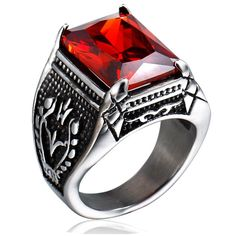 "Unistyle Fashion Vintage Jewelry Mens Crystal Stainless Steel Ring Designs Unique Gothic Engraved Dragon Claw Cool Biker Ruby Finger Rings Red Black Silver (10). Material:Stainless Steel;Color:Red Black Silver. Fadeless and without distortion. Suitable for men. Available American Standard US Sizes:7,8,9,10,11. Including a nice box printed ""UNISTYLE""."