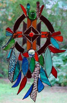 ABSTRACT DREAM CATCHER American Indian Inspired Mulit Coloured Stained Glass Art $129