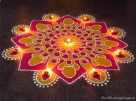 Discover beautiful diwali rangoli designs for your house. These simple rangoli designs can be made during festivals like Dussehra, Ugadi and Holi too. Happy Diwali Rangoli, Feliz Diwali, Easy Rangoli Designs Diwali, Rangoli Designs Latest, Simple Rangoli Designs Images, Rangoli Designs Flower, Free Hand Rangoli Design, Rangoli Patterns, Colorful Rangoli Designs