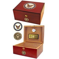 Us Navy Humidor - 50 Cigar Volume This deluxe limited edition humidor is the ultimate symbol of Navy pride. Exterior of humidor is made with premium handcrafted cherry wood, with the United States Navy emblem vividly displayed on top. Humidor holds up to 50 cigars (depending on size) and Gifts & Accessories/Cigars and Humidors