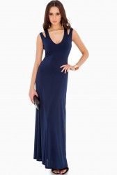Denise Cut Out Racer Back Maxi Dress in Navy
