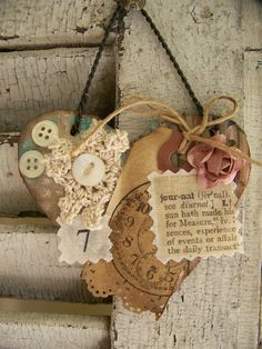 Vintage Altered Art Collage Vintage Mixed Media Cottage Style Heart Wall Hanging Antique Paper Heart. $11.50, via Etsy.