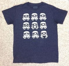 Funny STORM TROOPER MUSTACHES T-SHIRT Navy-Blue/White Star Wars MENS LARGE #StarWars #ShortSleeve