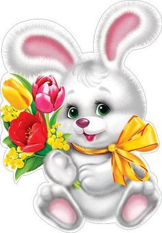 By Artist Unknown. Easter Pictures, Holiday Pictures, Cute Pictures, Happy Birthday Flower, Happy Birthday Images, Bunny Images, Bunny Painting, Cartoon Sketches, Cute Clipart