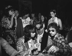 Bob Dylan Mick Jagger and Keith Richards at Jaggers 30th birthday party in New York City July 1972 http://ift.tt/1NF02qm