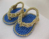handmade crochet baby flip flop shoes.  newborn baby photo prop.  baby shower gift.  baby boy or baby girl.  A bit of Lovely on Etsy.