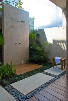 Would like outdoor shower near pool. Would like it to be private and ideally close to master bedroom. It would be awesome to wake up, do a few laps, have an outside shower, and then get dressed to go to work!