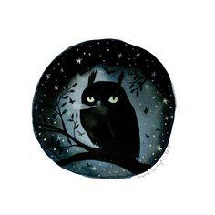 Night Owl - 10 x 10 inch Glow-in-the-Dark Archival Inkjet (Giclée) Print.