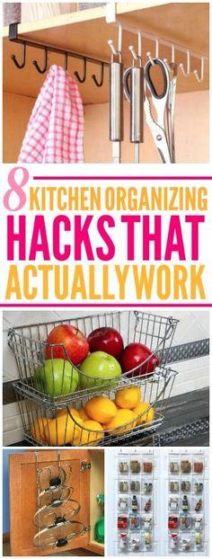 These 8 kitchen organization hacks are amazing! I'm happy I found these easy house hacks! Now I have some great organization tips! #organizing #organizingtips #organizinghacks #organization #organizationtips #organizationhacks #kitchenorganization #kitche