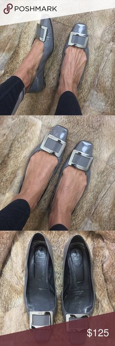 🌚Roger Vivier Grey Patent Leather Shoes Super chic RV patent leather ballerina shoes. These cuties are loved and have some wear throughout. Soles have some wear but not major. Back square heel has some minor marks. Overall these cuties have plenty of more life to them. Roger Vivier Shoes Flats & Loafers