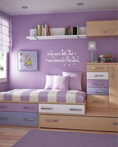 cute kid's room idea. but I would have the drawers in purple n white to match the rest of the room.. maybe keep the blue but the wood just does not go at all!