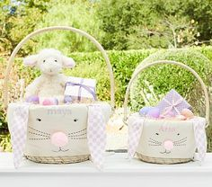 Bunny Pom-Pom Easter Basket Liner #pbkids