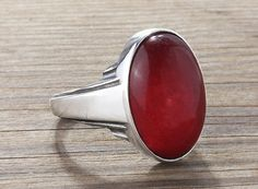 Mens Agate Ring 925 Sterling Silver Ring Agate Stone by ATAjewels